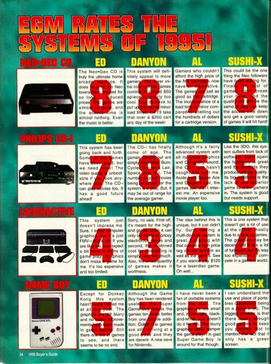 EGM 1989-2001 Buyers Guides System Ratings Game Rating Sega